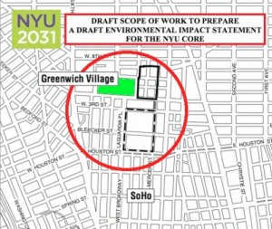Area to be reviewed in the current NYU ULURP application before CB#2 Manhattan
