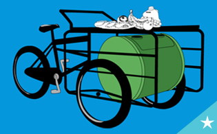 "The ""Excess Bodega Bike"" collects and then spins the food waste for composting at a local park or garden."